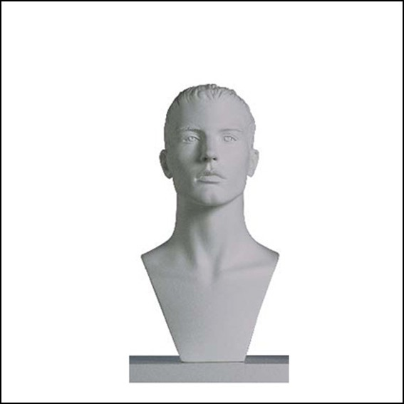 Male White Sculptured Sports Head