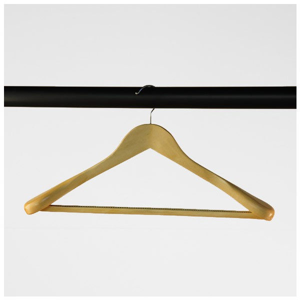 Broad Wooden Coat Hangers With Non-Slip Centre Bar (450 mm)