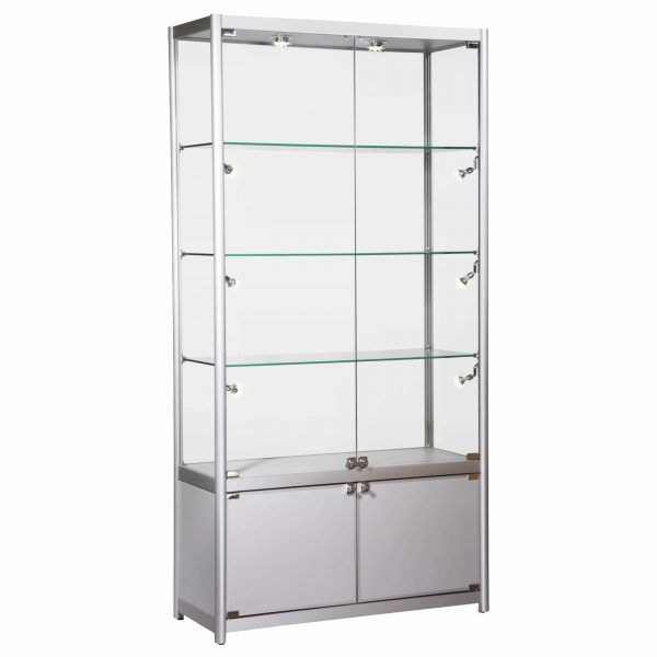 Glass Display Showcase Tall Extra Wide inc Storage